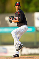 Relief pitcher Terance Marin #1 of the Kannapolis Intimidators in action against the Greensboro Grasshoppers at Fieldcrest Cannon Stadium on June 19, 2011 in Kannapolis, North Carolina.  The Intimidators defeated the Grasshoppers 9-7.   (Brian Westerholt / Four Seam Images)