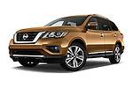 Stock pictures of low aggressive front three quarter view of 2017 Nissan Pathfinder Platinum 5 Door SUV Low Aggressive