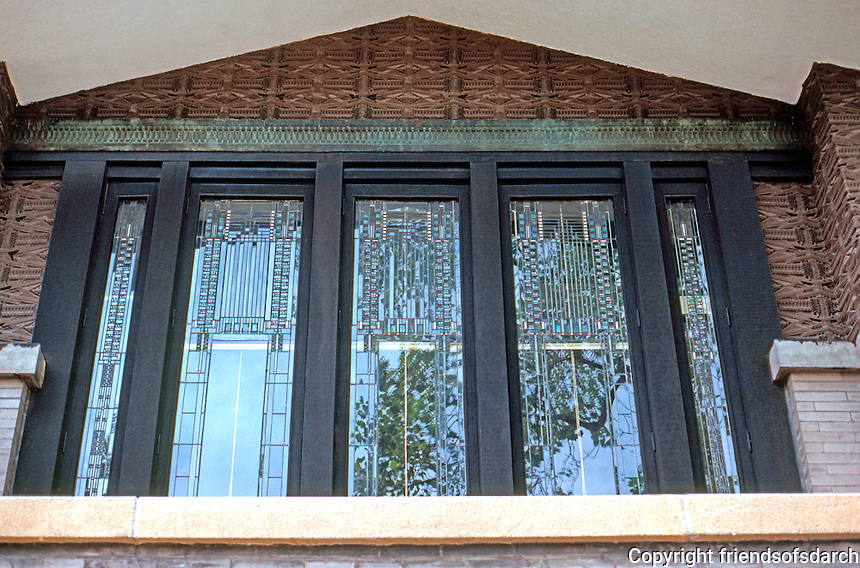 F.L. Wright: Dana House. Windows over main entrance.  Photo '78.
