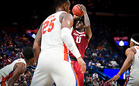 NWA Democrat-Gazette/CHARLIE KAIJO Arkansas Razorbacks guard Jaylen Barford (0) leaps for a shot during the Southeastern Conference Men's Basketball Tournament quarterfinals, Friday, March 9, 2018 at Scottrade Center in St. Louis, Mo.