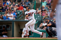 Rochester Red Wings Zander Wiel (12) at bat during an International League game against the Scranton/Wilkes-Barre RailRiders on June 24, 2019 at Frontier Field in Rochester, New York.  Rochester defeated Scranton 8-6.  (Mike Janes/Four Seam Images)