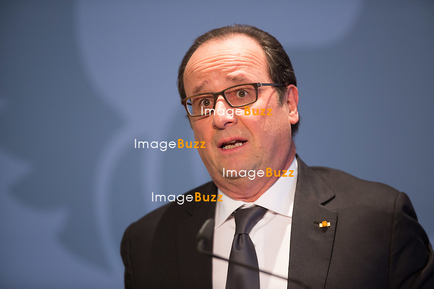 François Hollande, président de la République française en Visite officielle au Grand-Duché de Luxembourg lors d'une conf&eacute;rence de presse, au ch&acirc;teau de Senningen, avec le premier ministre luxembourgeois Xavier Bettel.<br /> Luxembourg, 6 mars 2015.<br /> French president Fran&ccedil;ois Hollande during an  official state visit to Luxembourg, during a press conference with Luxembourg prime minister Xavier Bettel, at the Senningen casttle.<br /> Luxembourg, 6 March 2015.