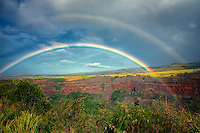 Hanapepe Valley with rainbow. Kauai, Hawaii.