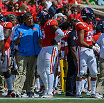 Head Coach Matt Luke talks defense on the sideline with Breeland Speaks during the game against UT Martin Sat., Sept. 9, 2017. Ole Miss wins 45-23.  Photo by Marlee Crawford/Ole Miss Communications