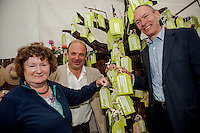 Tuesday 27 May 2014, Hay on Wye, UK<br /> Pictured: ( L-R )  Baroness Kay Andrews, AM John Griffiths and National Trust Director for Wales, Justin Albert <br /> Re: The Hay Festival, Hay on Wye, Powys, Wales UK.