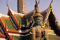 Tiled statue guarding the Grand Palace. Bangkok, Thailand.