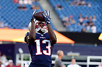 August 9, 2018: New England Patriots wide receiver Phillip Dorsett (13) warms up prior to the NFL pre-season football game between the Washington Redskins and the New England Patriots at Gillette Stadium, in Foxborough, Massachusetts.The Patriots defeat the Redskins 26-17. Eric Canha/CSM