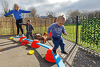 Pictured: Children play in the yard. Thursday 21 March 2019<br /> Re: Julie Morgan, AM, has met parents at Twinkle Star playgroup before new legislation is brought in by the Welsh Government to ban parents from smacking children, Cardiff, Wales, UK.
