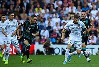 Leeds United's Mateusz Klich gets away from Swansea City's Bersant Celina and Matt Grimes<br /> <br /> Photographer Alex Dodd/CameraSport<br /> <br /> The EFL Sky Bet Championship - Leeds United v Swansea City - Saturday 31st August 2019 - Elland Road - Leeds<br /> <br /> World Copyright © 2019 CameraSport. All rights reserved. 43 Linden Ave. Countesthorpe. Leicester. England. LE8 5PG - Tel: +44 (0) 116 277 4147 - admin@camerasport.com - www.camerasport.com