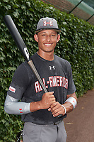 Royce Lewis (6) of J Serra High School in Aliso Viejo, California poses for a photo before the Under Armour All-American Game presented by Baseball Factory on July 23, 2016 at Wrigley Field in Chicago, Illinois.  (Mike Janes/Four Seam Images)