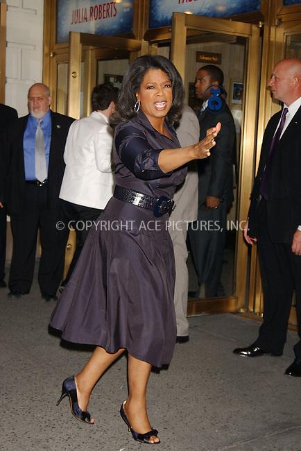 "WWW.ACEPIXS.COM . . . . . ....April 19 2006, New York City....OPRAH WINFREY....Arrivals at the opening night of ""Three Days of Rain"" staring Julia Roberts at the Bernard B Jacobs Theatre in midtown Manhattan....Please byline: KRISTIN CALLAHAN - ACEPIXS.COM........ . . . . . ..Ace Pictures, Inc:  ..(212) 243-8787 or (646) 679 0430..e-mail: picturedesk@acepixs.com..web: http://www.acepixs.com"