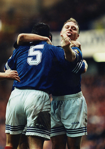 1996, RANGERS PAUL GASCOIGNE PLAYS FOR LAUGHS WITH A CHEEKY GESTURE AT IBROX STADIUM, ROB CASEY PHOTOGRAPHY.