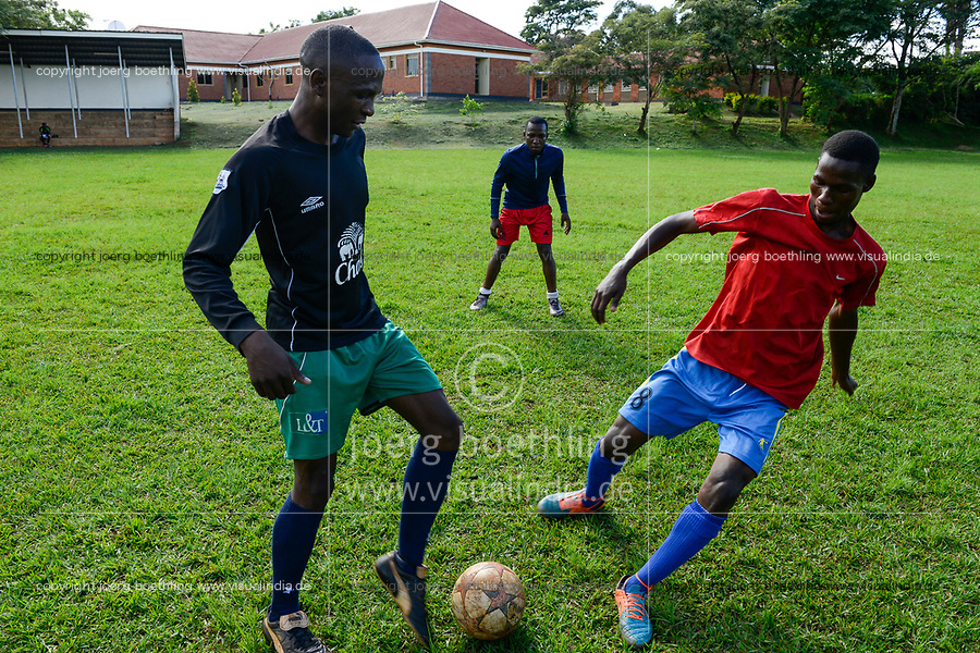 UGANDA, Kampala, National Seminary Ggaba, young seminarians play soccer