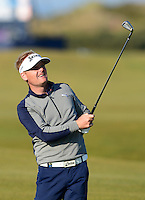 Soren Kjeldsen of Denmark hits an approach during Round 2 of the 2015 Alfred Dunhill Links Championship at the Old Course, St Andrews, in Fife, Scotland on 2/10/15.<br /> Picture: Richard Martin-Roberts | Golffile