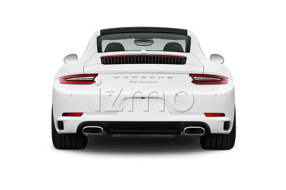 Straight rear view of a 2017 Porsche 911 Carrera 2 Door Coupe stock images