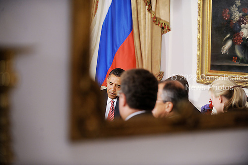 New York, NY - September 23, 2009 -- The mirrored reflection of United States President Barack Obama during a bilateral meeting with President Dmitri Medvedev of Russia at the Waldorf Astoria on Wednesday, September 23, 2009 in New York..Credit: Olivier Douliery - Pool via CNP