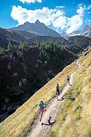 Trail running above Zermatt on the last day of the Via Valais, a multi-day trail running tour connecting Verbier with Zermatt, Switzerland.
