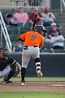 Miguel Gomez (9) of the Augusta GreenJackets at bat against the Kannapolis Intimidators at Intimidators Stadium on May 30, 2016 in Kannapolis, North Carolina.  The GreenJackets defeated the Intimidators 5-3.  (Brian Westerholt/Four Seam Images)