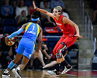 Washington, DC - September 8, 2019: Washington Mystics forward Elena Delle Donne (11) plays defense against Chicago Sky guard Diamond DeShields (1) during game between the Chicago Sky and Washington Mystics at the Entertainment and Sports Arena in Washington, DC. The Mystics locked up the #1 seed in the Playoffs by defeating the Sky 100-86. (Photo by Phil Peters/Media Images International)