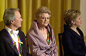 Clint Eastwood, left, Angela Lansbury, center, and first lady Hillary Rodham Clinton, right, at the White House reception for the recipients of the 2000 Kennedy Center Honors in the East Room of the White House in Washington, D.C. on Sunday, December 3, 2000..Credit: Ron Sachs / Pool via CNP