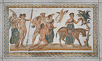 Picture of a Roman mosaics design depicting Dionysus riding a lion; from the ancient Roman city of Thysdrus. 2nd century AD House of the Dionysus Proccession. El Djem Archaeological Museum; El Djem; Tunisia.