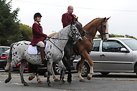 Pictured: Byron John father of Bradley arrives at Maragam Crematorium in Port Talbot, Wales, UK. Monday 08 October 218<br /> Re: A grieving father will mourners on horseback at the funeral of his &ldquo;wonderful&rdquo; son who killed himself after being bullied at school.<br /> Talented young horse rider Bradley John, 14, was found hanged in the school toilets by his younger sister Danielle.<br /> Their father, farmer Byron John, 53, asked the local riding community to wear their smart hunting gear at Bradley&rsquo;s funeral.<br /> Police are investigating Bradley&rsquo;s death at the 500-pupils St John Lloyd Roman Catholic school in Llanelli, South Wales.<br /> Bradley&rsquo;s family claim he had been bullied for two years after being diagnosed with Attention Deficit Hyperactivity Disorder.<br /> He went missing during lessons and was found in the toilet cubicle by his sister Danielle, 12.