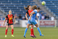 Bridgeview, IL, USA - Saturday, April 23, 2016: Chicago Red Stars forward Sofia Huerta (11) and Western New York Flash midfielder Elizabeth Eddy (4) during a regular season National Women's Soccer League match between the Chicago Red Stars and the Western New York Flash at Toyota Park. Chicago won 1-0.