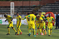 NEIVA - COLOMBIA, 01-09-2018: Jugadores de Leones F.C. celebran después de anotar un gol a Atlético Huila durante partido por la fecha 7 de la Liga Águila II 2018 jugado en el estadio Guillermo Plazas Alcid de la ciudad de Neiva. / Players of Leones F.C. celebrate after scoring a goal to Atletico Huila during match for the date 7 of the Aguila League II 2018 played at Guillermo Plazas Alcid in Neiva city. VizzorImage / Sergio Reyes / Cont