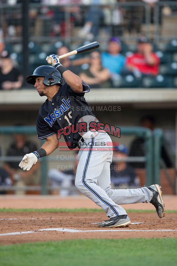 Jose Caballero (19) of the Missoula Osprey follows through on his swing against the Billings Mustangs at Dehler Park on August 21, 2017 in Billings, Montana.  The Osprey defeated the Mustangs 10-4.  (Brian Westerholt/Four Seam Images)