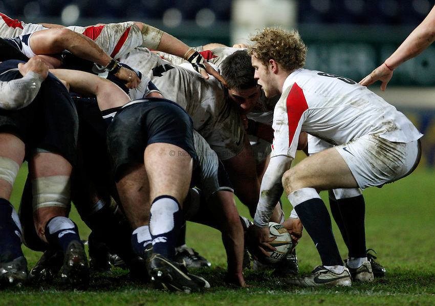 Photo: Richard Lane/Richard Lane Photography. .Scotland U20 v England U20. RBS U20 Six Nations. 07/03/2008. England's Joe Simpson feeds the ball into a scrum.