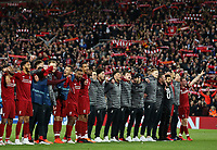 Liverpool players celebrate in front of their fans at the final whistle <br /> <br /> Photographer Rich Linley/CameraSport<br /> <br /> UEFA Champions League Semi-Final 2nd Leg - Liverpool v Barcelona - Tuesday May 7th 2019 - Anfield - Liverpool<br />  <br /> World Copyright &copy; 2018 CameraSport. All rights reserved. 43 Linden Ave. Countesthorpe. Leicester. England. LE8 5PG - Tel: +44 (0) 116 277 4147 - admin@camerasport.com - www.camerasport.com