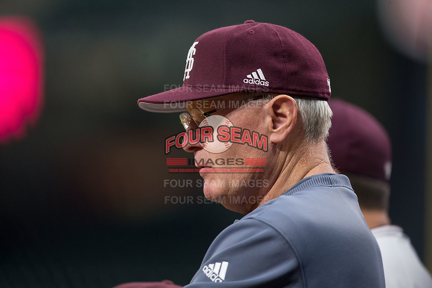 Mississippi State Bulldogs interim head coach Gary Henderson watches from the dugout during the game against the Houston Cougars in game six of the 2018 Shriners Hospitals for Children College Classic at Minute Maid Park on March 3, 2018 in Houston, Texas. The Bulldogs defeated the Cougars 3-2 in 12 innings. (Brian Westerholt/Four Seam Images)