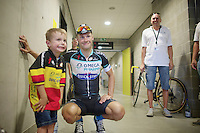 while waiting to delivre a sample to the doping officials, Tom Boonen (BEL/OPQS) happily poses with a very young fan (who wears Toms shirt from the year before)<br /> <br /> Heistse Pijl 2014