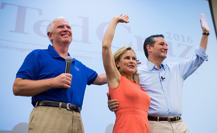 UNITED STATES - AUGUST 9: From left, Rep. Mo Brooks, R-(AL) Heidi Cruz, and Presidential candidate Sen. Ted Cruz (R-TX) wave to the crowd as they take the stage for the Cruz town hall meeting with Rep. Mo Brooks, R-Ala., in Huntsville, Ala., on Sunday, Aug. 9, 2015. The campaign event was part of The Cruz Country bus tour through the South. (Photo By Bill Clark/CQ Roll Call)