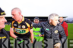 Stephen Stack Manager and Kieran Donaghy Austin Stacks players celebrate winning the Kerry Senior County Football Final at Fitzgerald Stadium on Sunday.