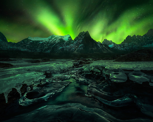 canada, northern lights, aurora, mountains, snow, winter
