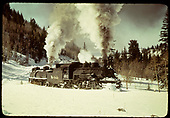 #483 with tank train approaching Coxo.<br /> D&amp;RGW  near Coxo, CO  Taken by Gildersleeve, Thomas H.
