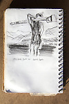 Rowing, Sarah Jones, USRowing Olympic Training Center, Otay Lake, California, Joel Rogers, Journal Art 2002, charcoal on paper,