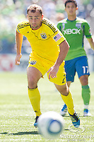 Columbus Crew defender Rich Balchan (2) chases the ball in a match against the Sounders at CenturyLink Field in Seattle, Washington.