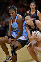 from left Fiji Pearls' Sera Dakuitoga and Silver Ferns' Bailey Mes in action during the International Netball - Silver Ferns v Fiji Pearls at Te Rauparaha Arena, Porirua, New Zealand on Thursday 23 July 2015.<br /> Photo by Masanori Udagawa. <br /> www.photowellington.photoshelter.com.