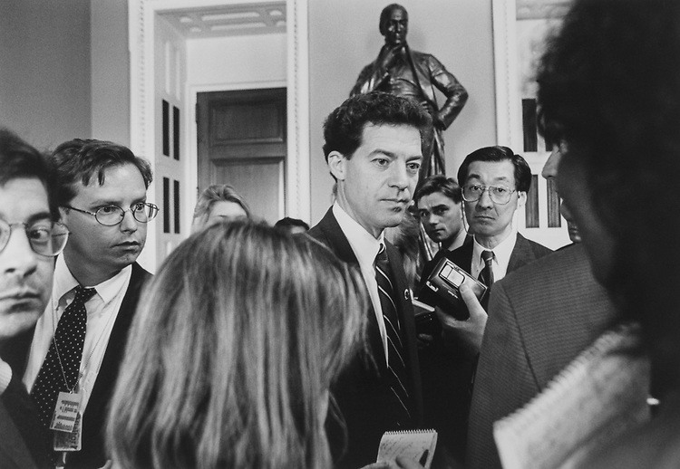 Rep. Sam Brownback, R-Kans., tells reporters he's interested in Senate seat, May 16, 1995. (Photo by Laura Patterson/CQ Roll Call via Getty Images)