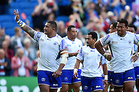 Sakaria Taulafo of Samoa waves to supporters after the match. Rugby World Cup Pool B match between Samoa and the USA on September 20, 2015 at the Brighton Community Stadium in Brighton, England. Photo by: Patrick Khachfe / Onside Images