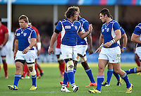Jacques Burger of Namibia rallies his team-mates during a break in play. Rugby World Cup Pool C match between Tonga and Namibia on September 29, 2015 at Sandy Park in Exeter, England. Photo by: Patrick Khachfe / Onside Images
