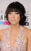 LOS ANGELES, CA - NOVEMBER 18: Carly Rae Jepsen  attends the 40th Anniversary American Music Awards held at Nokia Theatre L.A. Live on November 18, 2012 in Los Angeles, California.PAP1112JP313..PAP1112JP313..