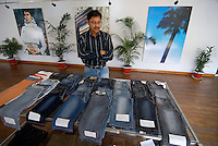 BANGLADESH , textile industry in Dhaka , textile factory produce Jeans for export for western discounter, showroom for clients / Bangladesch , Textilfabrik in Dhaka produziert Jeans fuer den Export fuer westliche Textildiscounter wie Tom Tailor