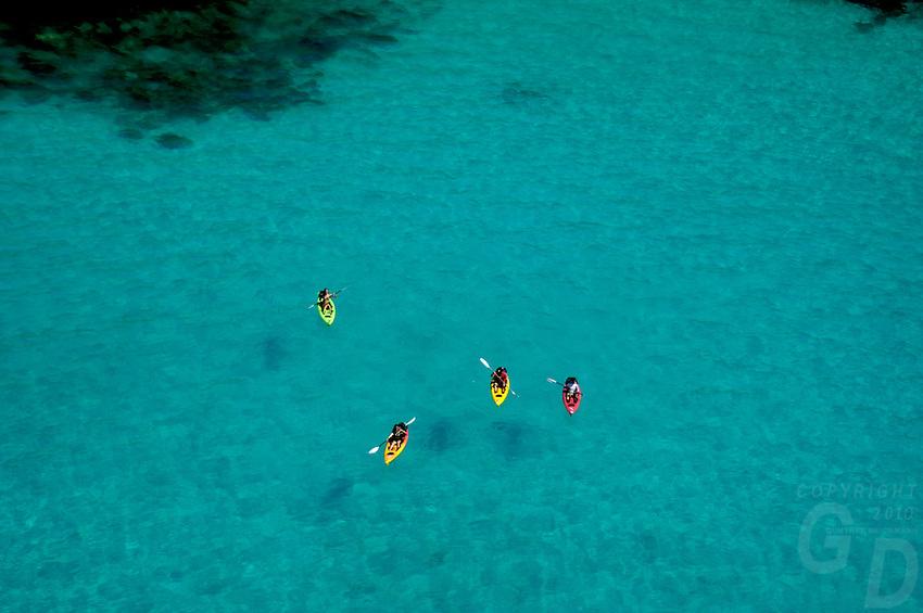 Aerial view of Kayaks in Palau Micronesia