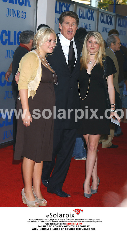 ALL ROUND PICTURES FROM SOLARPIX.COM.*MUST CREDIT SOLARPIX.COM OR DOUBLE FEE WILL BE CHARGED*.*NO PUBLICATION IN FRANCE*.The film premiere of 'Click' in California at the 'Village theatre in Westwood in the USA yesterday 14.06.06..This pic:David Hasselhoff and daughters arrive at the premiere.DATE:15.06.06.-JOB REF:2491-GLS