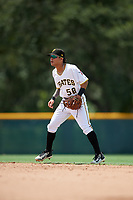 GCL Pirates second baseman Francisco Acuna (58) during a game against the GCL Tigers West on August 13, 2018 at Pirate City Complex in Bradenton, Florida.  GCL Tigers West defeated GCL Pirates 5-1.  (Mike Janes/Four Seam Images)