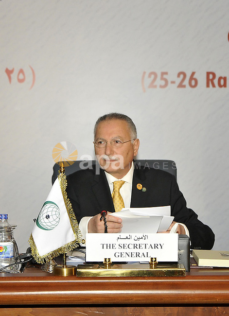 Ekmeleddin Ihsanoglu the secretary general of the Organization of the Islamic Cooperation attends the 12th summit of the Organisation of Islamic Cooperation on February 6, 2013 in Cairo. The 12th summit of the Organisation of Islamic Cooperation opened in Cairo, with Syria's civil war and the battle against Islamist militants in Mali topping the agenda. The meeting gathers the leaders of 26 of the OIC's 57 states, including the presidents of Iran and Turkey. Photo by Ahmed Asad