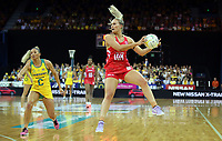 02.08.2017 Englnad's Chelsea Pitman in action during a netball match between Australia and England at the Brisbane Entertainment Centre in Brisbane Australia. Mandatory Photo Credit ©Michael Bradley.
